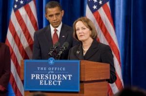 President-Elect Obama and Karen Mills